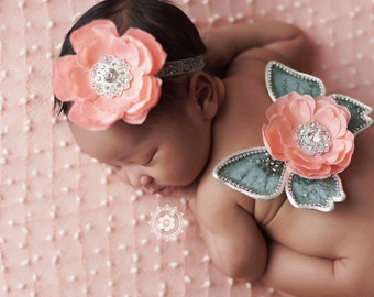 Newborn Wings Baby Butterfly Wings Sweet Melon Mint Sparkle Wings And Headband Set Velvet Beaded Wings Beautiful Newborn Photo Prop