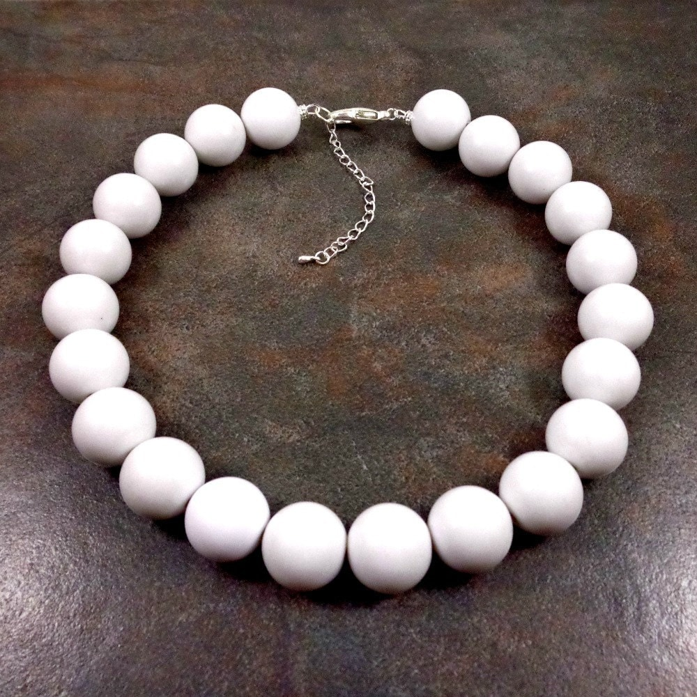 Necklace Beads: Big Necklace White Statement Necklace Big Bead Necklace