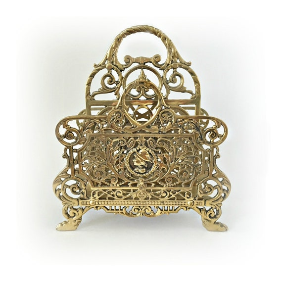 Large brass letter holder ornate gold mail holder file holder for Gold letter rack