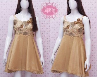 READY STOCK - Gold Satin Dress With Gold Flower And Leaf Detail - Gold Dress For Prom - Girls Birthday Dress - Gold Party Dress