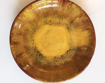 Vintage Blue Mountain Pottery Canada Harvest Gold - Mustard Yellow Orange Brown Dish - Canadian Art Pottery Ceramic BMP Serving Plate