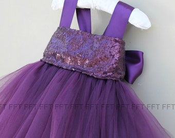 Plum Eggplant Sequin Flower Girl Tutu Dress