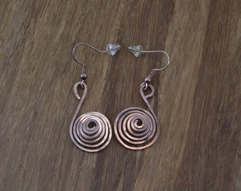 Spiral Copper Earrings - Hammered Copper Earrings - Hammered Spiral Earrings - Copper Jewelry