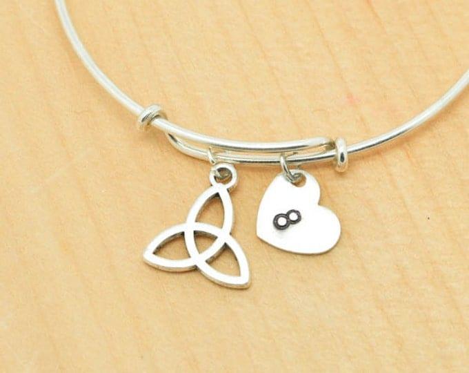 Knot Bangle, Sterling Silver Bangle, Knot Bracelet, Bridesmaid Gift, Personalized Bracelet, Charm Bangle, Initial Bracelet, Monogram