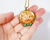Kitty Locket Necklace, Cat Wearing a Bow Tie, OOAK Locket, Cat Lover Gift, Ginger Tabby, Cat Locket Keepsake Gift