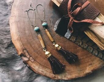 Earthy Brown Tassel Earrings
