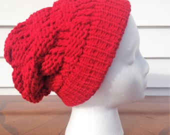 Red Slouchy Beanie