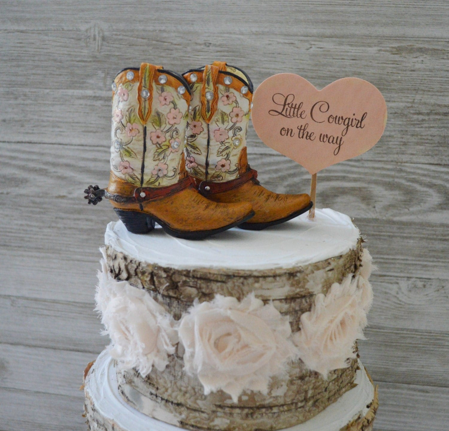 Cowboy Cowgirl And Baby Boot Cake Topper