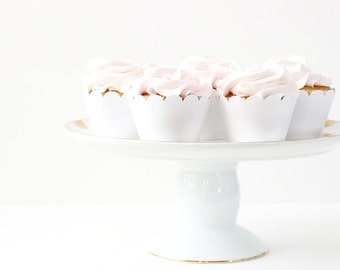 White Cupcake Wrappers White Party Supplies Neutral Wedding Cupcakes Shabby Chic Bridal Shower Decorations Baby Shower Cupcake Wrappers