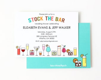 Stock the Bar Invitations Couples Shower Invites Printed Bridal Shower Invitations Cocktail Engagement Party Housewarming Invitation Wedding