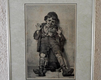 """19th C. Antique Engraving Print John George Brown Portrait of Young Boy """"I'm Perfectly Happy"""" 1887 Art"""
