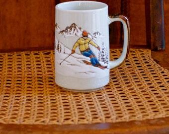vintage ski mug skiing coffee mug