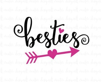 Besties Svg, Best Friends Svg, Friends Svg, Heart Svg, Bff Svg, Best Friends Heart Svg, Cricut Cut Files, Silhouette Cut Files