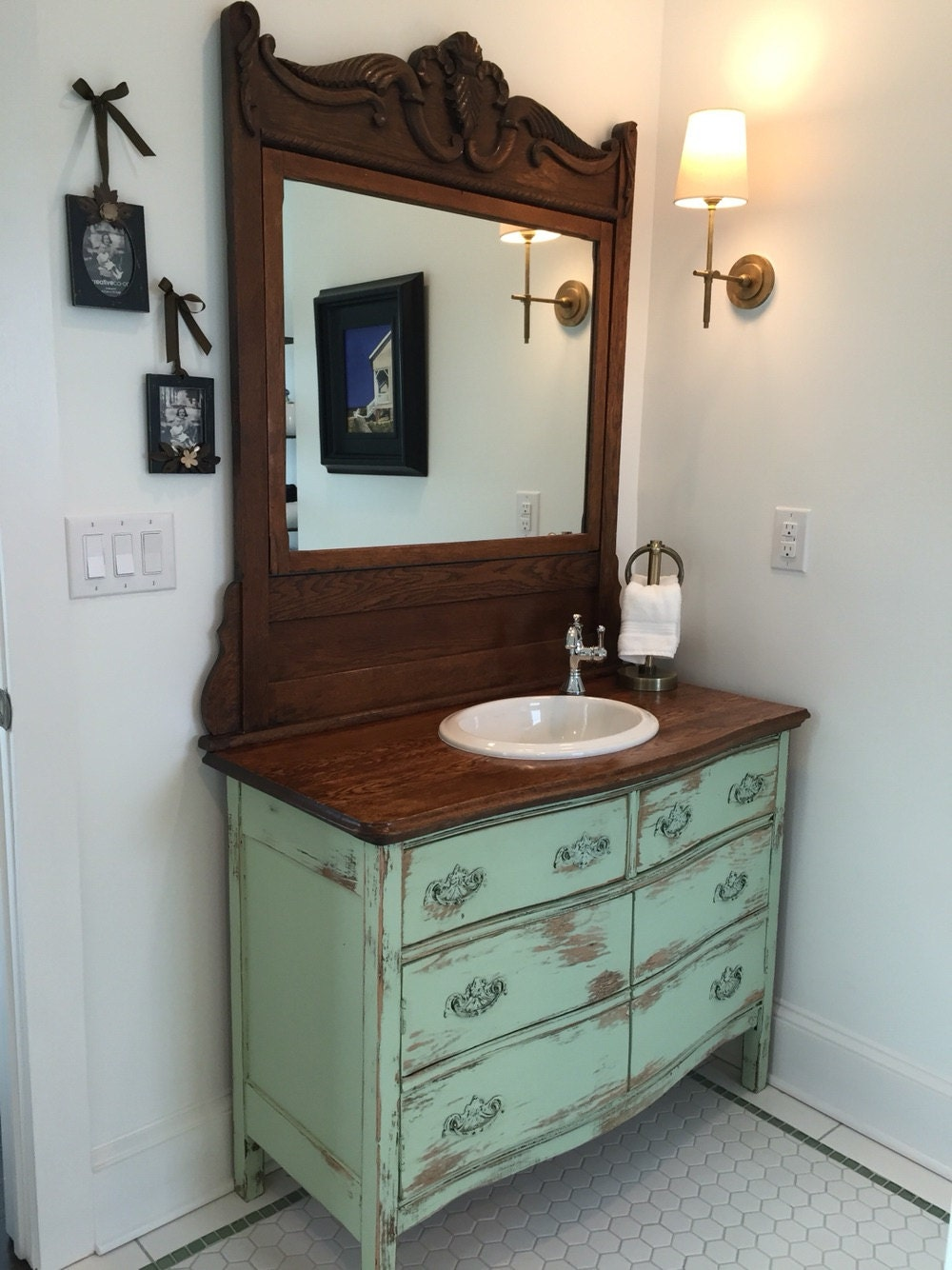 BATHROOM VANITY From Antique Dresser! We Find, Restore, Convert, Paint and  Distress - One Of A Kind! Country Furniture - BATHROOM VANITY From Antique Dresser! We Find, Restore, Convert