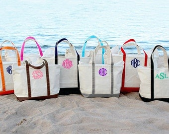 Monogrammed Canvas Tote Bag - Large Monogrammed Tote Bag - Canvas Boat Tote Beach Bag - Discount On Four Or More Bags - 13 In Stock Colors
