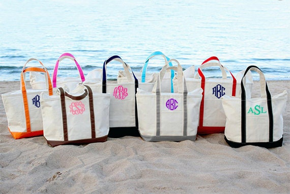 Monogrammed Canvas Tote Bag Large Monogrammed Tote Bag