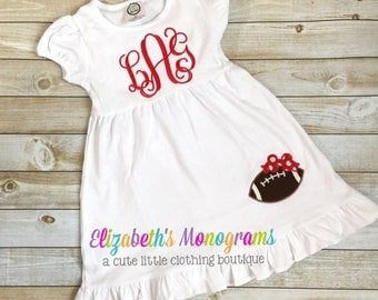 Monogrammed Red and White Football Dress