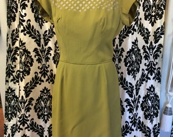 FABULOUS OLIVE Green Wiggle Dress 1950s/60s with basket weave illusion neckline