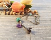 Eiffel Tower Necklace - Silver Charm Necklace - Amethyst Pendant Necklace - Valentines Day Gift for Her - Chain Necklace - Charm Necklace