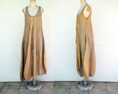 unique European linen bauble dress by ZOJKA, M size, hemp flax beige brown ocher OOAK woman unique fashion design, hand dyed, pockets art 2