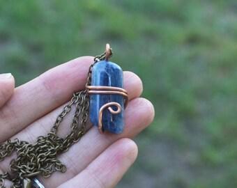 Kyanite Necklace, Blue Kyanite, Polished Kyanite, Kyanite Copper Necklace, Copper Necklace, Copper Wire Wrap Necklace, Unisex Necklace