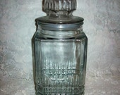 99 CENT SAlE Vintage Square Glass Apothecary Cookie Jar Canister Waffle Pattern by Koeze Now .99 USD