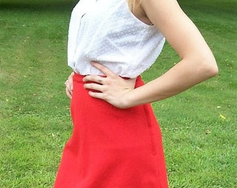 Vintage 1960s Ladies Red Skirt Small Mod Retro Only 7 USD