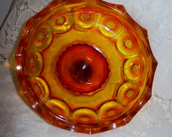 "SAlE 40% Off Vintage Amberina Moon & Stars Pattern Glass 6"" Replacement Compote Candy Dish Lid Now 3 USD"