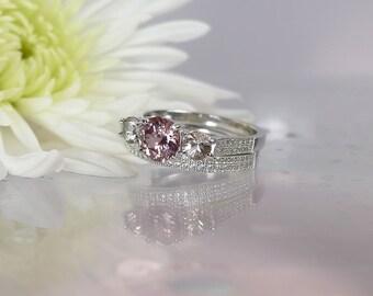 Gemstone Wedding Set, Natural Gemstone Ring,  Pink Tourmaline, Herkimer Diamond Accents, Sterling silver