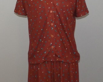 Cute Vintage Floral Print Dress and Short Sleeved Jacket