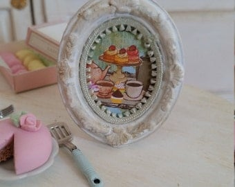 "Oval framed picture ""kitchen"". Dollhouse and kitchen. 1/12th scale"