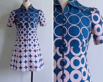 Vintage 70's Dotty Donuts Teal Blue Op Art Polyester Mod Mini Dress XS or S
