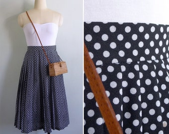 10-25% OFF Code In Shop - Vintage 80's 'Minnie Mouse' Black & White Polka Dot Pleated Skirt XS