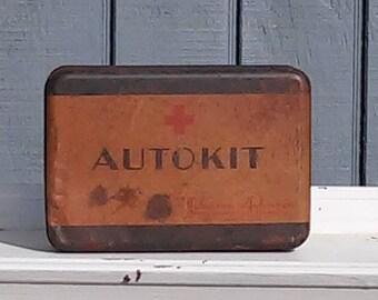Vintage First Aid Kit  Auto Kit - Johnson and Johnson First Aid Kit