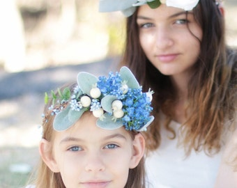 Bluebell - floral crown, hair circlet.  Blue flowers, grey foliage, vine and pip berries.
