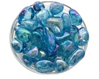Heavenly! 1 Large AQUA AURA Quartz Tumbled Stone Extra Quality Healing Crystal and Stone ...