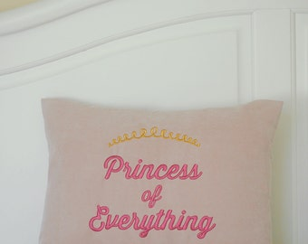 Princess Pillow Cover - Blush Pink - Pillow Cover - Embroidered