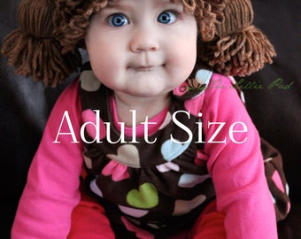 Cabbage Patch Kid Inspired Crochet Hat - Wig - ADULT Sizes - Doll Costume Wig Hat - Funny Wigs - Beanie Hats - Custom Made to order