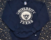 Vintage 80s UNIVERSITY of TEXAS Crewneck Sweatshirt by Russel Athletic Made in USA