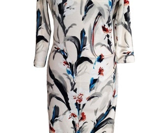 Floral Jersey Dress, Plus Size Dress, Winter Dress, Dress with Sleeves, White Dress, Long Sleeves, Warm Dress, Designer Dress