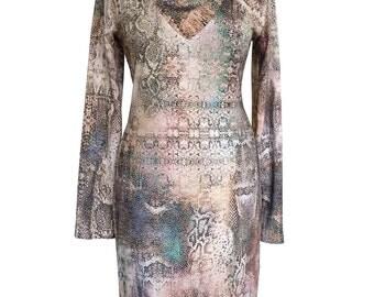 Long Sleeves Jersey Dress, Plus Size Dress, Snaked Print, Cowl Neck Dress, Turtleneck Dress, Animal Dress, Winter Dress, Designers Dress
