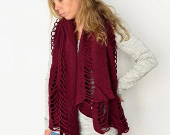 Raspberry Nomad Scarf, Boho wool shawl poncho cardigan, Oversize knit sweater Cutout Braided Hand dyed