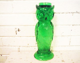 Green glass owl candle holder large Italian vintage  tall unusual  emerald