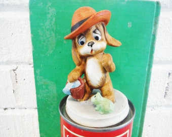 Vintage dog and frog figurine Lefton  mid century kitsch