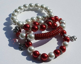 Red and White Beaded Bracelet Set with Elephant Charms, Sorority Inspired Crimson and Cream Stack