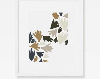 Abstract Floral Art - Neutral Minimalist Artwork - Mid Century Modern Leaf Art Print - Vertical Horizontal - 5x7, 8x10, 11x14, 16x20, 18x24