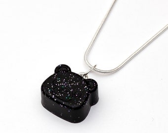 Space Bear Necklace - resin jewelry, black, nebula jewelry, galaxy pendant, hipster, galaxies, space, hipster, animals, galaxy animal
