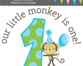 Little Monkey Boy 1st Birthday Digital Iron On or Digital Sticker Design - Birthday Digital Tshirt Design - Monkey Birthday Party