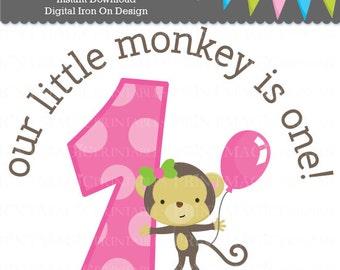 Little Monkey Girl 1st Birthday Digital Iron On or Digital Sticker Design - Birthday Digital Tshirt Design - Monkey Birthday Party