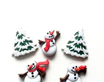 Snowman Magnets, Christmas, Let it Snow, Thumbtacks, Refrigerator Magnets, Kitchen Decor